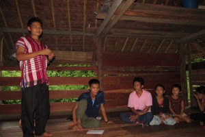 One of our students telling a Bible story