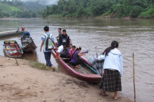 Here we are getting ready to boat down the river to do village health assessments.